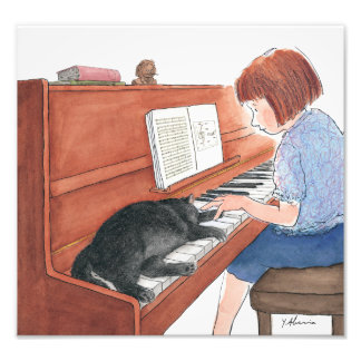Kramer The Cat Sleeping On The Piano Photo Print