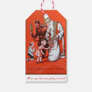Krampus and St. Nicholas gift tag