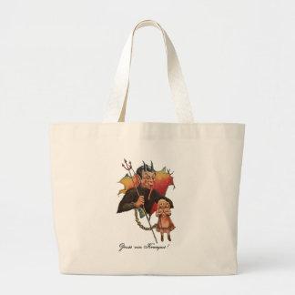 Krampus Breaking Through Large Tote Bag