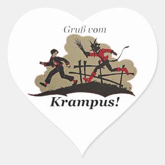 Krampus Chases Kid Heart Sticker