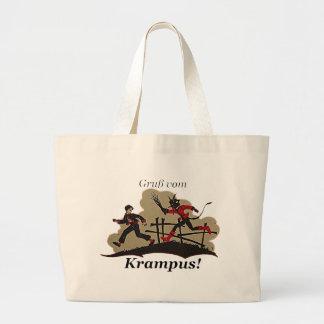 Krampus Chases Kid Large Tote Bag