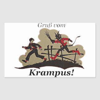Krampus Chases Kid Rectangular Sticker