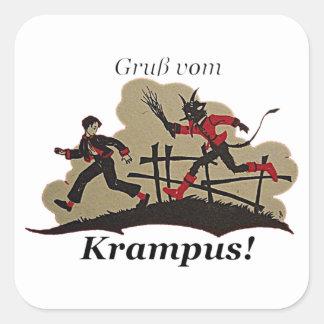 Krampus Chases Kid Square Sticker