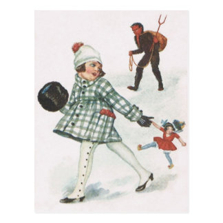 Krampus Chasing A Little Girl With Doll Postcard