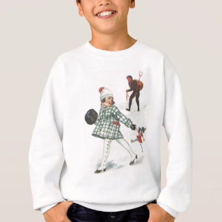 Krampus Chasing A Little Girl With Doll Sweatshirt