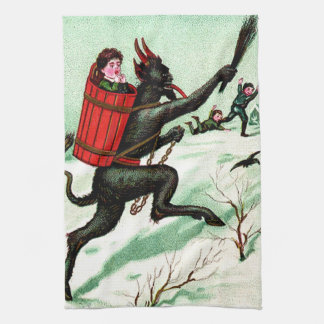Krampus Chasing Bad Children Winter Snow Tea Towel