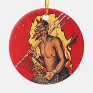 Krampus Demon Devil Pitchfork Switch Ceramic Ornament