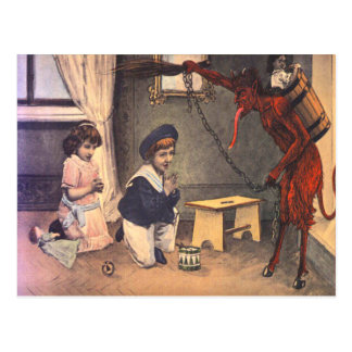 Krampus Kidnapping Bad Children Postcard