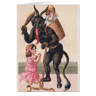 Krampus Kidnaps Kids Vintage Holiday Christmas Card