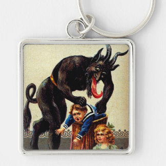 Krampus Kids in Basket Holiday Christmas Keychain