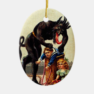 Krampus Kids in Basket Holiday Christmas Ornament