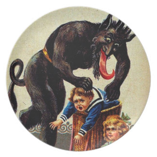 Krampus Kids in Basket Holiday Christmas Plate
