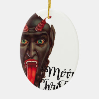 krampus merry christmas ceramic ornament