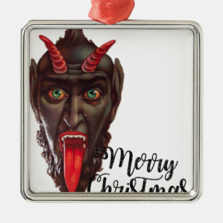 krampus merry christmas metal ornament