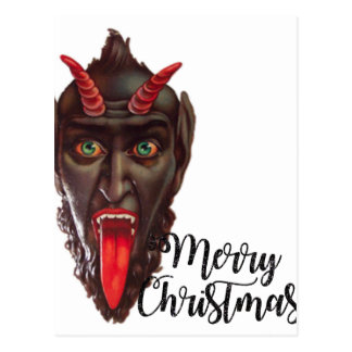 krampus merry christmas postcard