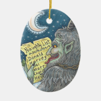 KRAMPUS NAUGHTY LIST Christmas Ornament Oval
