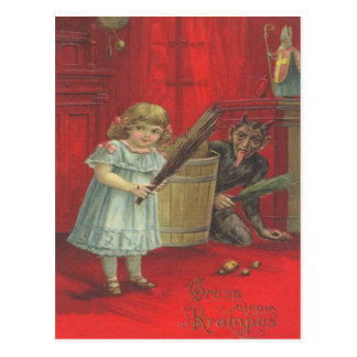 Krampus Playing With Girl Postcard