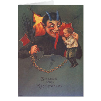Krampus Punishing Child Card