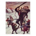 Krampus Punishing Children Snow Post Cards