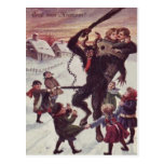 Krampus Punishing Children Snow Postcard