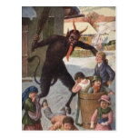 Krampus Punishing Kidnapping Children Winter Post Card