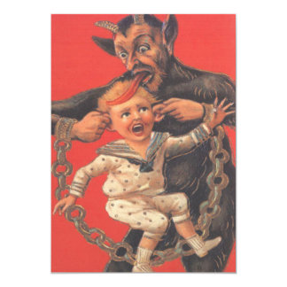 Krampus Punishing Little Boy 13 Cm X 18 Cm Invitation Card