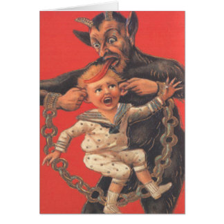 Krampus Punishing Little Boy Card