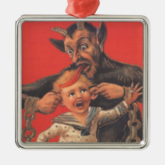 Krampus Punishing Little Boy Ear Metal Ornament