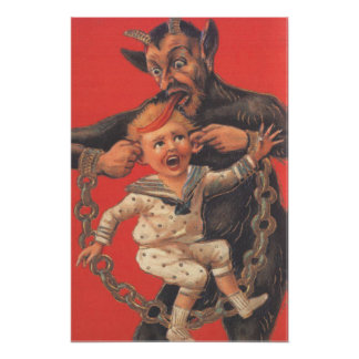 Krampus Punishing Little Boy Ear Poster
