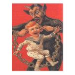 Krampus Punishing Little Boy Postcard