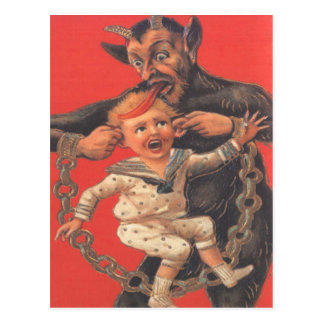 Krampus Punishing Little Boy Postcard