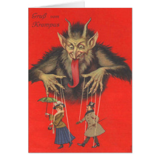 Krampus Puppeteering Adults Card