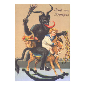 Krampus Riding Hobbyhorse With Boy Card