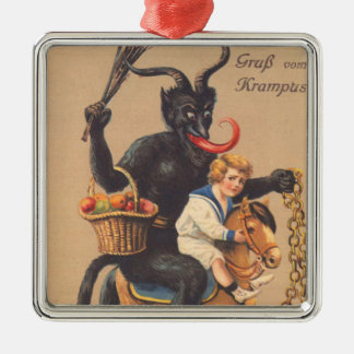Krampus Riding Hobbyhorse With Boy Metal Ornament