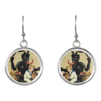 Krampus Rocking Horse Bad Demon Xmas Christmas Earrings