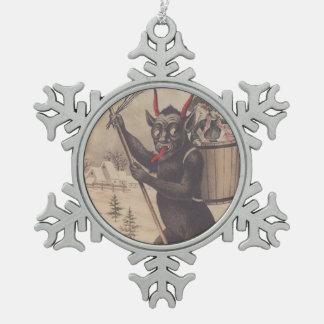 Krampus Skiing Kidnapping Women Pewter Snowflake Decoration