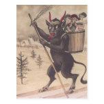 Krampus Skiing Kidnapping Women Post Cards