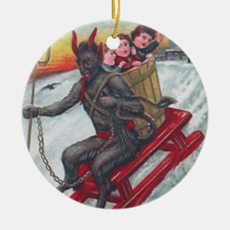 Krampus Sled Ceramic Ornament