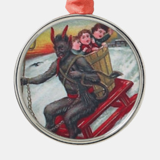 Krampus Sled Metal Ornament