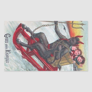 Krampus Sled Rectangular Sticker