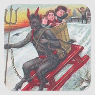 Krampus Sled Square Sticker
