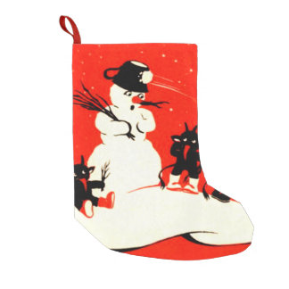 Krampus Snowman Snowball Switch Small Christmas Stocking