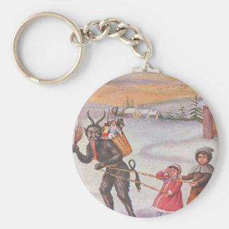 Krampus Stealing Toys & Children Basic Round Button Key Ring