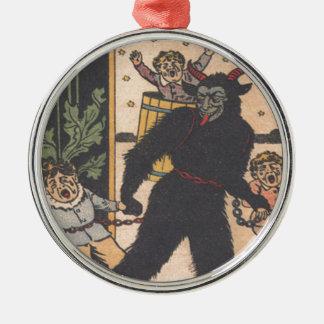 Krampus Taking Away Bad Children Silver-Colored Round Decoration