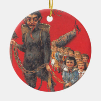 Krampus With Bad Children Ceramic Ornament