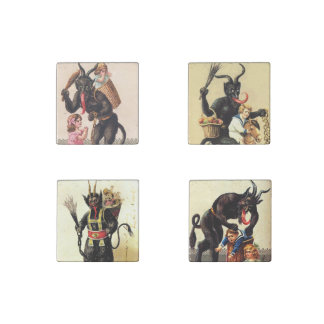 Krampus With Kids Vintage Art Holiday Christmas Stone Magnet