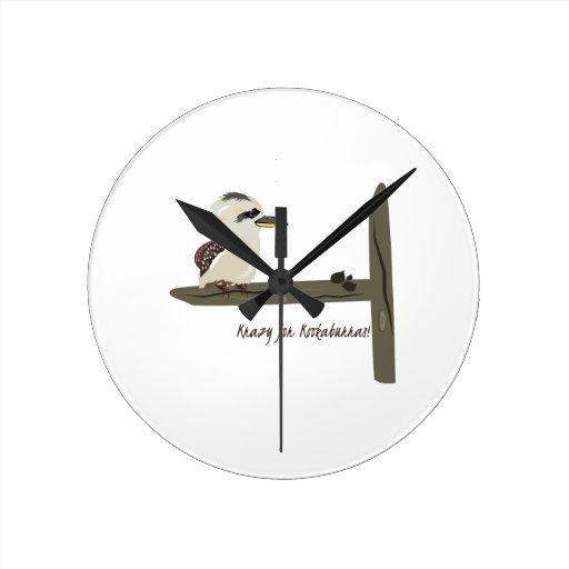Krazy Kookaburras Round Clock
