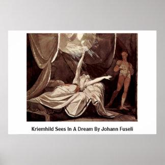Kriemhild Sees In A Dream By Johann Fuseli Poster