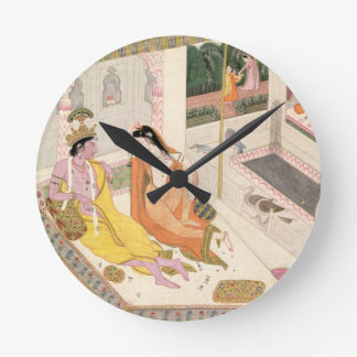 Krishna and Radha on a bed in a Mogul palace, Punj Wallclock