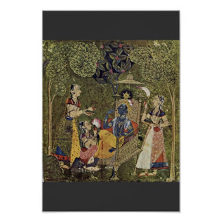Krishna And The Girls By Indischer Maler Um 1710 ( Poster